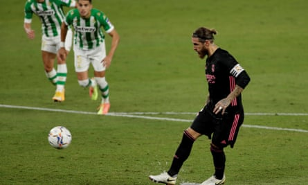 Sergio Ramos slots in the penalty to beat Real Betis