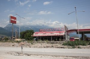 USA-H, a pizzeria and gas station on the route between Prishtina and Peja, west Kosovo