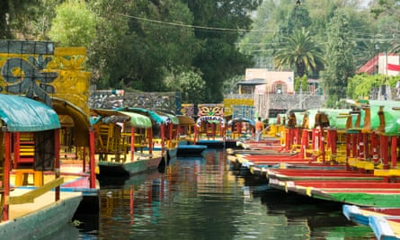 Colourful boats at the Floating Gardens in Xochimilco, Mexico.
