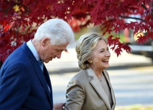 Hillary Clinton and her husband, former president Bill Clinton, leave after casting their ballots at a polling station in Chappaqua, New York.