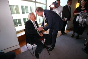 Former prime minister Bob Hawke with Anthony Albanese at the launch of a the biography Albanese: Telling it Straight by Karen Middleton, right