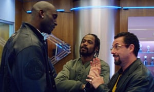 Tall tale … Sandler and Lakeith Stanfield with NBA star Kevin Garnett, playing himself.