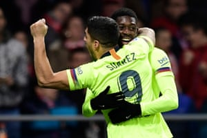 Barcelona's Ousmane Dembele is congratulated on his goal by Luis Suarez.