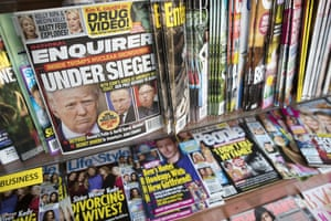 An issue of the National Enquirer featuring Donald Trump on its cover at a store in New York.