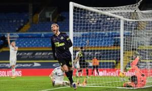 Jeff Hendrick of Newcastle United celebrates after scoring.