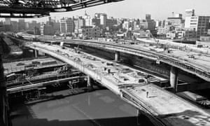 New freeways are rush-built in 1963 in Tokyo ahead of the following year's Olympics.