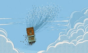 Illustration of cuckoos carrying a shop into the clouds