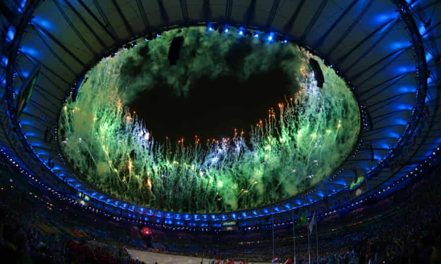 Fireworks erupt during the opening ceremony in Rio in 2016