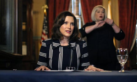 Gretchen Whitmer addresses the state during a speech in Lansing on 2 April.