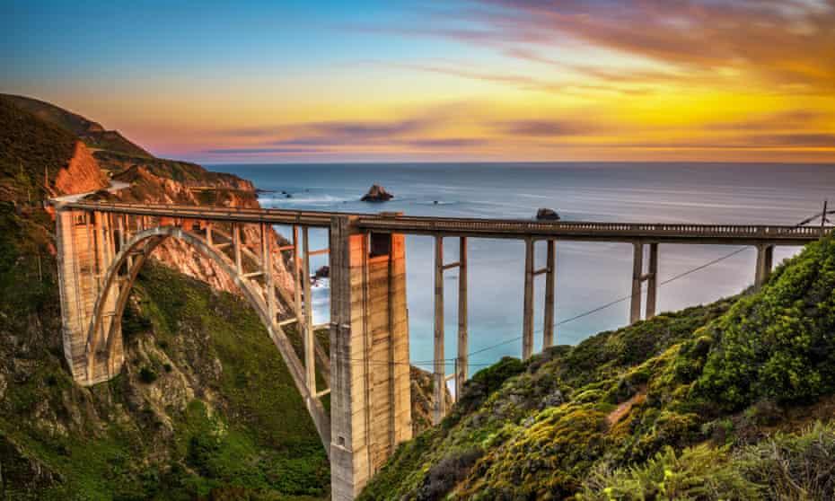 Bixby Bridge (Rocky Creek Bridge) and Pacific Coast Highway at sunset near Big Sur in California, USA. Long exposure.Bixby Bridge (Rocky Creek Bridge) and Pacific Coast Highway at sunset near Big Sur in California, USA. Long exposure.