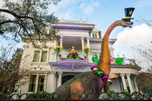 A home decorated to celebrate Dino Gras