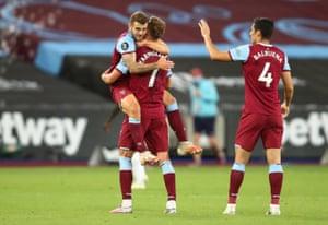 West Ham United's Jack Wilshere and Andriy Yarmolenko celebrate their victory.