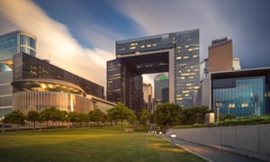 """The Hong Kong government complex. Its hollow middle makes it a """"disaster design"""", according to feng shui practitioner John Choi."""