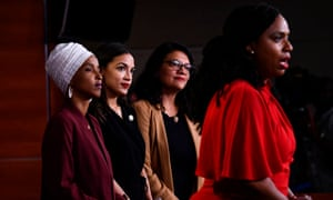US representatives Ayanna Pressley, right, speaks during a news conference with Ilhan Omar, Rashida Tlaib, and Alexandria Ocasio-Cortez.