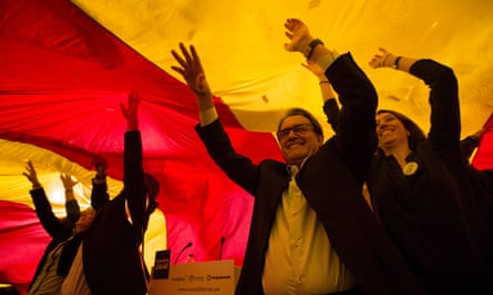 Artur Mas, leader of the Democracy and Freedom coalition, during the first meeting of the Spanish election campaign in Barcelona.