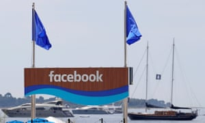 A Facebook panel on the quayside in Cannes