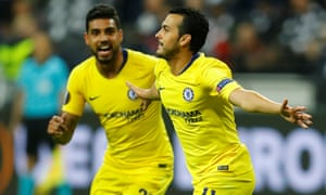 Chelsea's Pedro celebrates scoring their first goal with Emerson Palmieri.