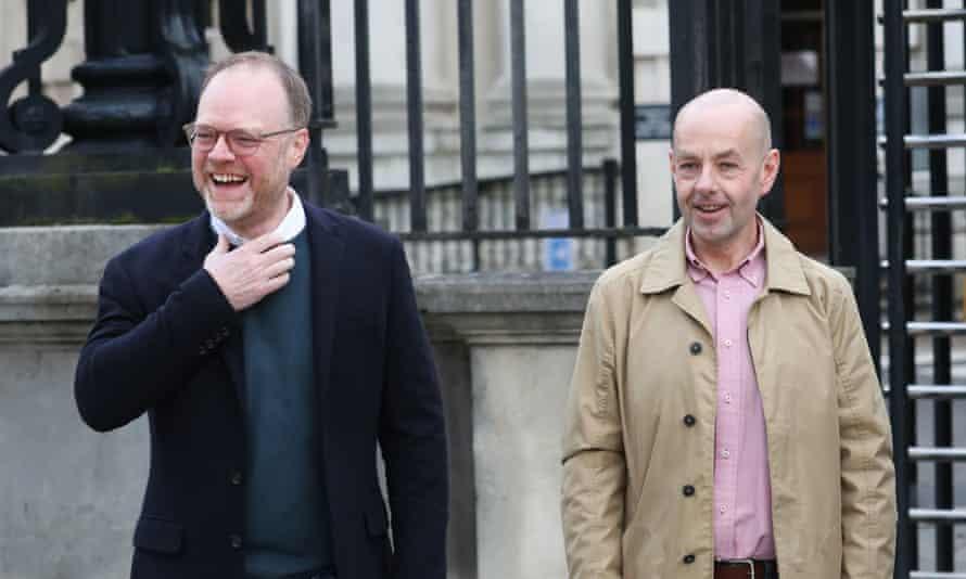 The journalists Barry McCaffrey and Trevor Birney outside Belfast high court