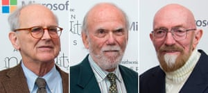 Left to right: Rainer Weiss, Barry Barish and Kip Thorne, who have ben awarded the 2017 Nobel prize in physics.