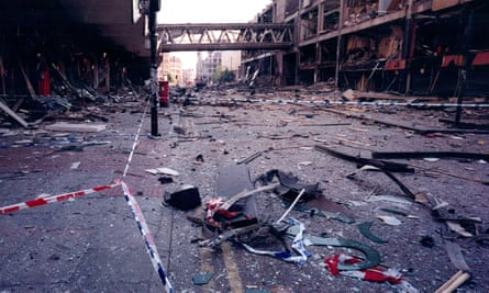Corporation Street, Manchester after an IRA car bomb exploded in the city centre.