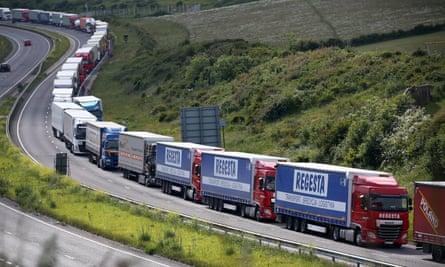Trucks queue up outside Dover port