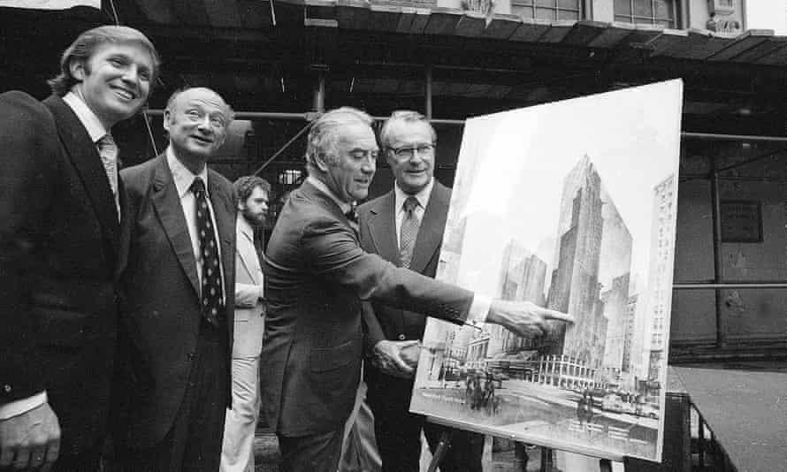 Donald Trump with Mayor Ed Koch and Governor Hugh Carey of New York unveil plans for the New York Hyatt Hotel/Convention facility in 1978.