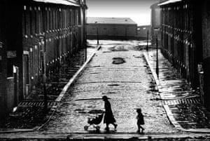 Street of terraced houses awaiting demolition, Salford, 1979
