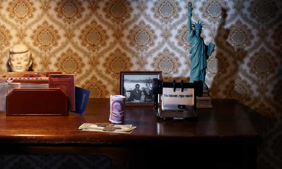 photograph of desk with Russian money and writing