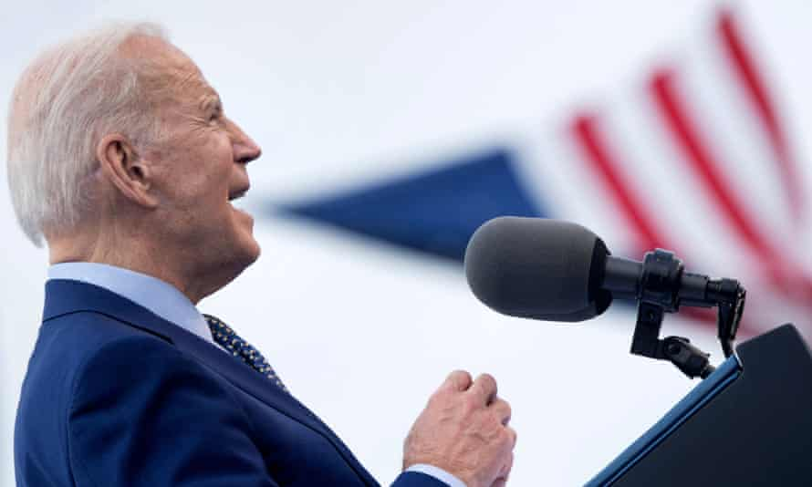 US President Joe Biden speaks during a drive-in rally at Infinite Energy Center in Duluth, Georgia.