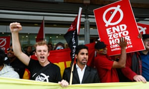 Protesters picket outside McDonalds in Britomart on in Auckland, New Zealand.