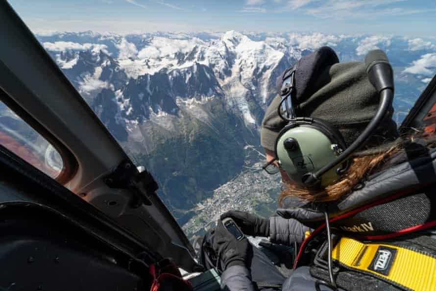 Kieran Baxter in a helicopter