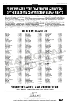 The advert in the Guardian, issued through the Pat Finucane Centre.