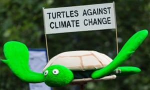 A Turtle is held up with a banner reading 'Turtles against climate change' at the recent People's Climate March, in Melbourne, Australia.