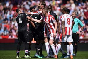 Peter Crouch remonstrates with Luka Milivojevic.