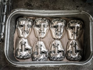 London, England BAFTA masks being cast at New Pro Foundries. The EE British Academy Film Awards will take place on Sunday February 10th at the Royal Albert Hall.