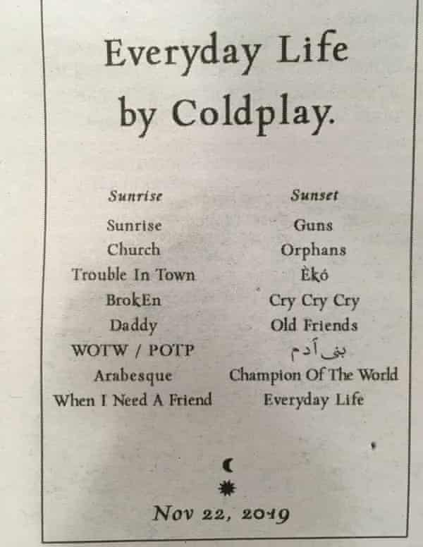 A Coldplay classified ad, which has been placed in newspapers around the world