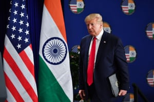 Donald Trump arrives for a press conference in New Delhi on Tuesday.