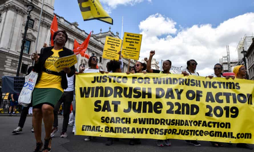 National Windrush day of action campaigners marching in central London.