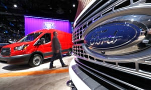 A Ford pickup truck and Transit commercial van at the 2019 North American international auto show.
