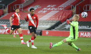 Kyle Walker-Peters of Southampton sticks the ball in the net but it's chalked off for offside.