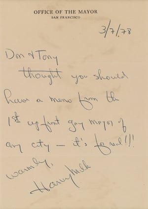 A letter signed by Harvey Milk, the then acting mayor of San Francisco, 7 March 1978