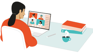 Illustration of woman using laptop for video chat
