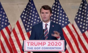 Charlie Kirk, founder of Turning Point USA, speaks at the Republican national convention.