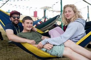 (L-R) Jordan Hopkins, 23, Tom Pearson-comer, 24, and Georgia meek, 23, all from Manchester. Vox pops around the festival site for live blog. Glastonbury Festival 2017. Saturday 24 June