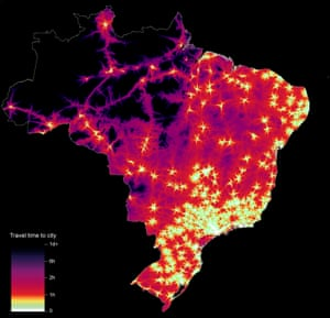 Graphic showing travel time to cities in Brazil to assess inequalities in accessibility.