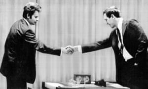 Russian Boris Spassky (left) shakes hands with American Bobby Fischer at the World Chess Championship in 1972