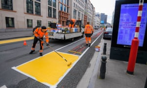 A new cycle lane being set during the lockdown in Brussels.