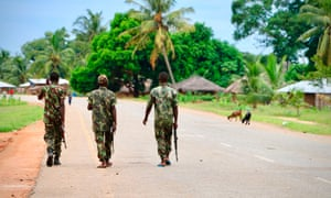 Soldiers from the Mozambican army on patrol amid rising Islamist attacks.