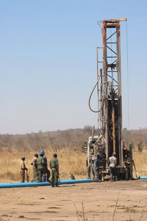 Borehole drilling. Hwange National Park, September 2016.