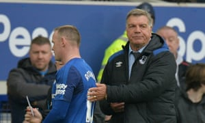 Everton's manager, Sam Allardyce, substitutes Wayne Rooney against Liverpool